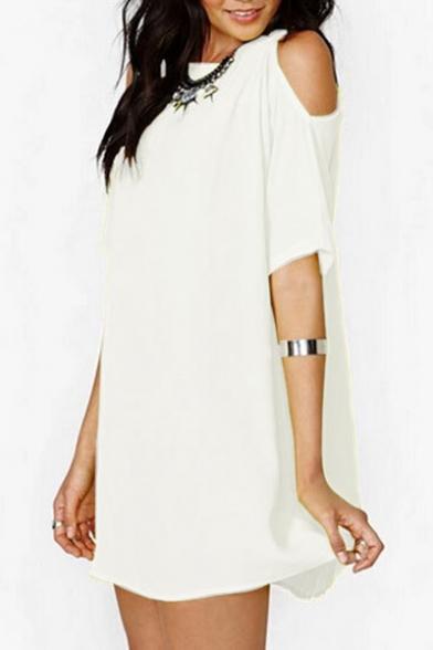 Cold Shoulder Round Neck Short Sleeve Plain Mini A-Line Chiffon Dress