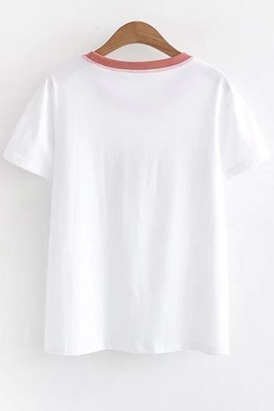 Round Contrast Neck Tee Cat Short Sleeve Embroidered qzzFCxrTd