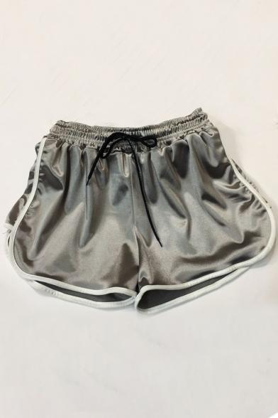 Contrast Trim Drawstring Waist Loose Sports Shorts