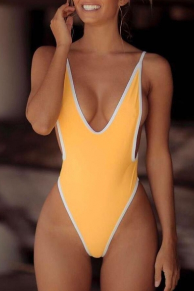 Contrast Trim Open Back Spaghetti Straps Sleeveless One Piece Swimwear