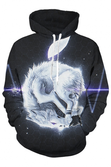Long with Pullover Sleeves Wolf Cool White Hoodie Pocket Pattern txnpgwqwU