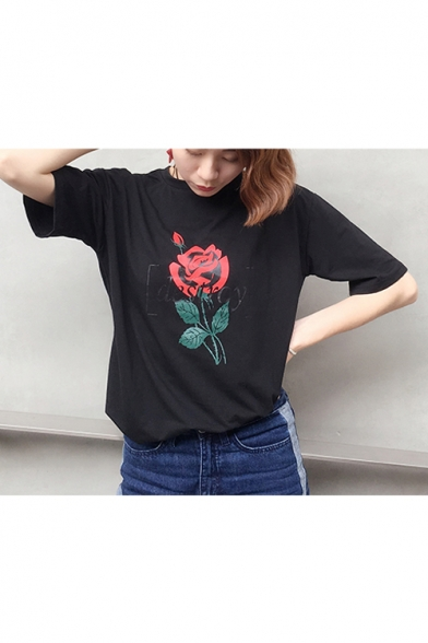 Tee Round Letter Neck Printed Floral DESTROY Sleeve Short CxH0qPwP