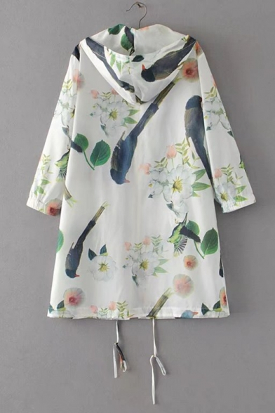 Floral Bird Print Half Sleeve Hooded Drawstring Coat with Double Pockets