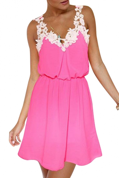 Line A Mini Dress Embellished Floral Sleeveless Straps vOTXq