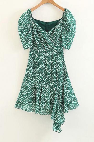 Floral Printed Wrap Neck Asymmetric Hem Short Sleeve Dress