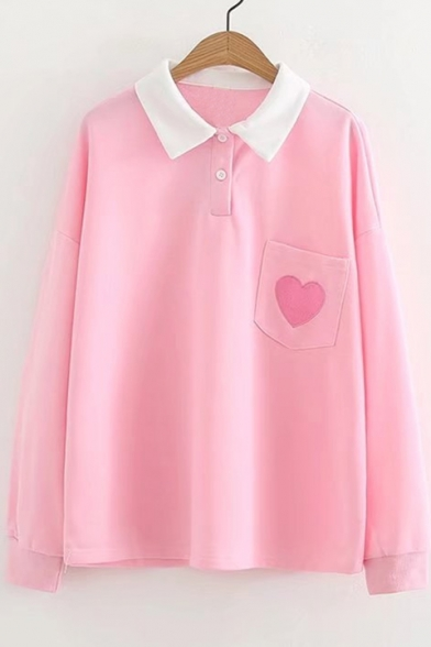 Button Pocket Front Embroidered Tee Double Sleeve Lapel Heart Long qTF1wXxq