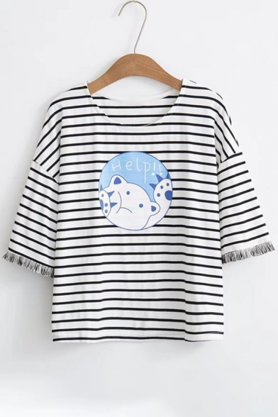 Printed Neck Short Letter Striped Round HELP Sleeve Tee Bear x1q7IwEa