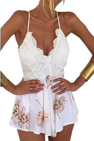 Lace Insert Floral Printed Spaghetti Straps Sleeveless Open Back Romper