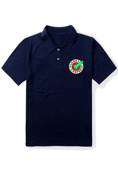 Sleeve Short Printed Rocket Polo Letter Tee Shirt Collar Lapel IwqStxXt