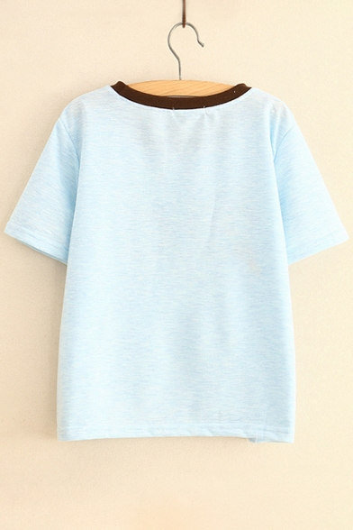 Rocket Printed Short Tee Letter Round Contrast Neck Sleeve Ad5ZwqHx