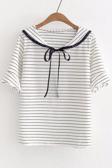 Short Bow Striped Tee Sleeve Collar Navy Embellished gIq00a