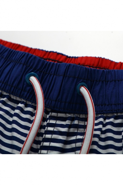 New Navy Blue and White Big and Tall Male Striped Print Swim Trunks Bathing Suit with Back Flap Pockets