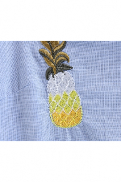 Midi Embroidered Sleeveless Dress Straps Spaghetti Cami Pineapple q6wnZpfZ