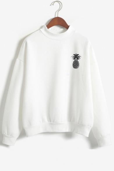 Sleeve Printed Long Neck High Sweatshirt Pineapple UFPqaU