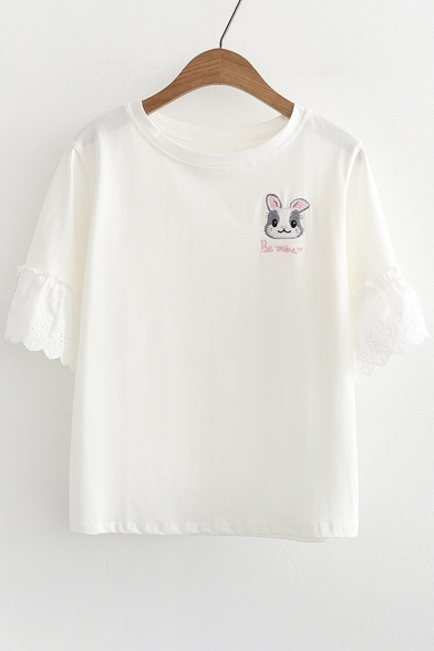 Ruffle Short Embroidered Neck Round Hem Sleeve Tee Rabbit 5Rp7wqUxn
