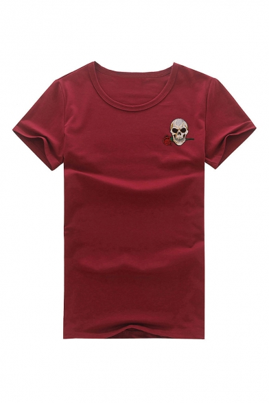 Neck Round Floral Embroidered Skull Tee Sleeve Short fPvUPqxw
