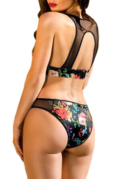 Out Back Hollow Insert Printed Sheer Bikini Floral Mesh qIYwUXT7