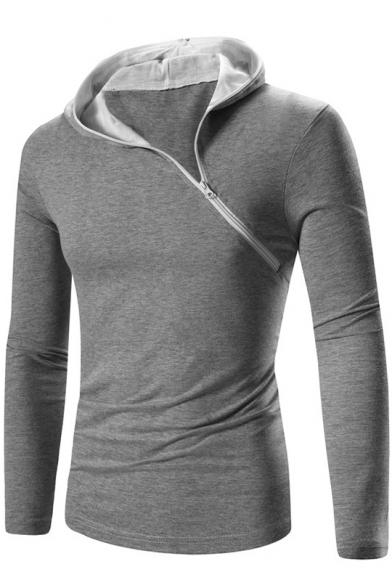Zipper Slim Tee Plain Hooded Long Sleeve Front f1rAxPf