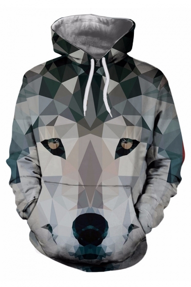 Abstract Wolf Color Block Pattern Pocket Long Sleeve Hoodie for Couple