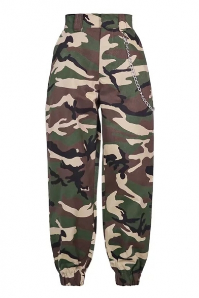 Camouflage Printed Chain Embellished Elastic Waist Loose Pants