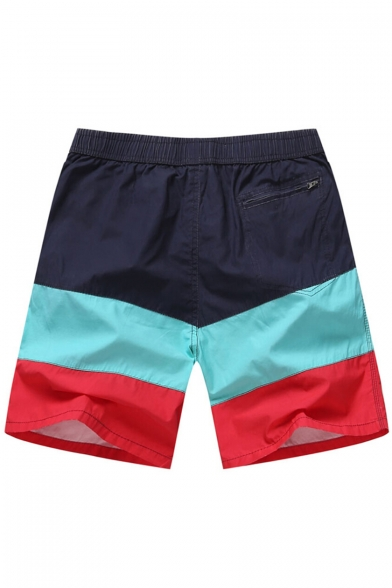 Classic Elastic Red and Blue Colorblock Beach Shorts Trunks with Back Zipper Pockets