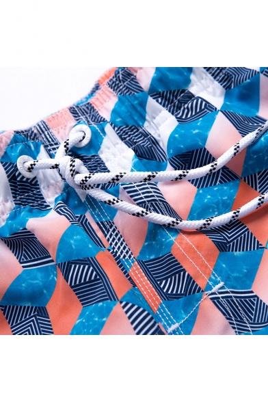Colorful Men's Blue Cube Geo Swim Trunks Beachwear with Hook and Loop Pockets