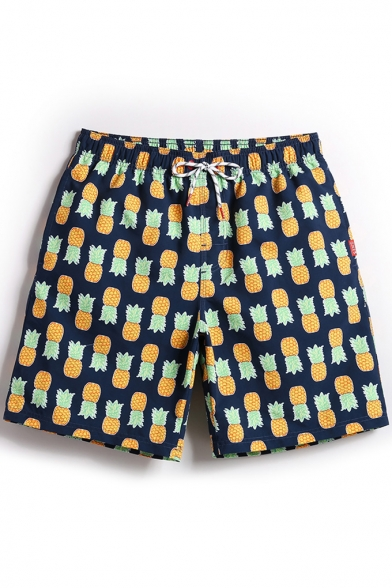 Cool Mens Navy Blue Pineapple Pattern Swim Shorts Trunks with Mesh Lining and Pockets