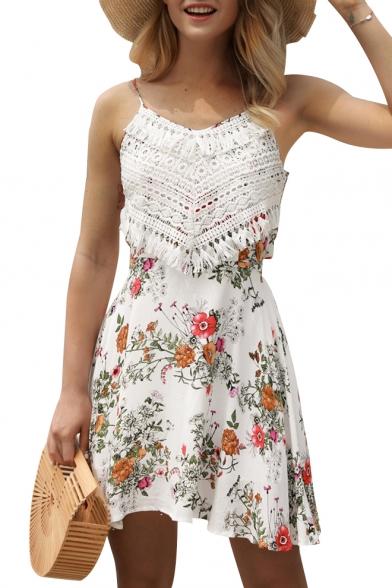 Crochet Tassel Embellished Floral Printed Spaghetti Straps Sleeveless Mini Cami Dress
