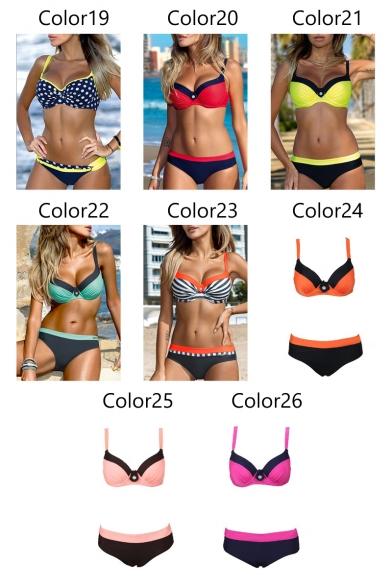 Fashionable Color Block Printed Holiday Bikini