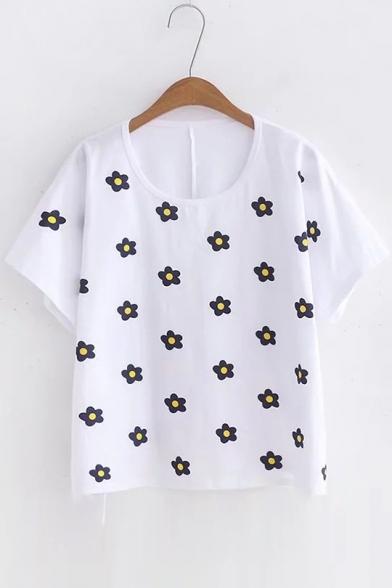 Short Sleeve Floral Printed Round Neck Tee tnAZq