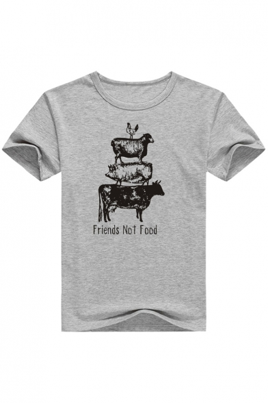 Fit Chicken Slim Summer Pig FRIENDS FOOD Men's Sheep Farm Print Tee NOT Letter Cow nv01qxvp