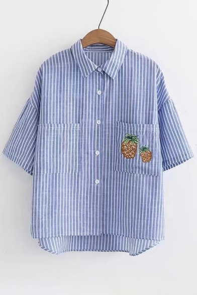 Buttons Pineapple Lapel Embroidered Down Short Collar Striped Shirt Sleeve TwOYprwaWq