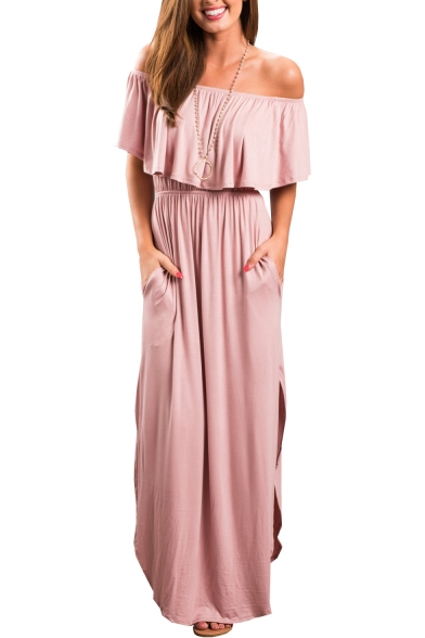 Shoulder A Dress Side Split Sleeve The Maxi Plain Off Short Line Bv1EE8