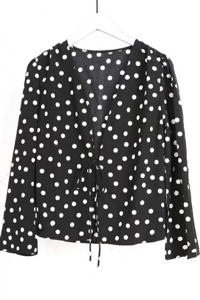 Polka Dot Printed V Neck Long Sleeve Blouse