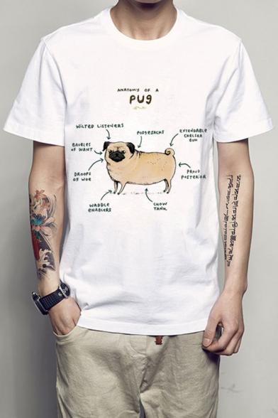 PUG Graphic Print Round Neck Short Sleeve Tee