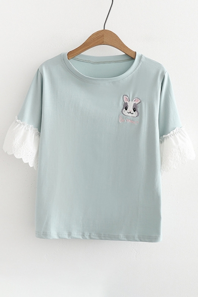 Embroidered Tee Hem Ruffle Round Rabbit Short Sleeve Neck Up7Zcdx