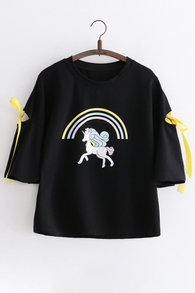 Hollow Short Tee Rainbow Printed Unicorn Out Sleeve IYqrTEqxw