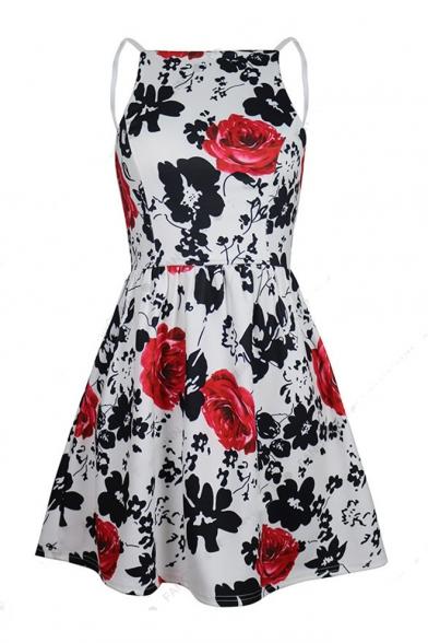 Rose Printed Spaghetti Straps Sleeveless Hollow Out Back Mini A-Line Dress