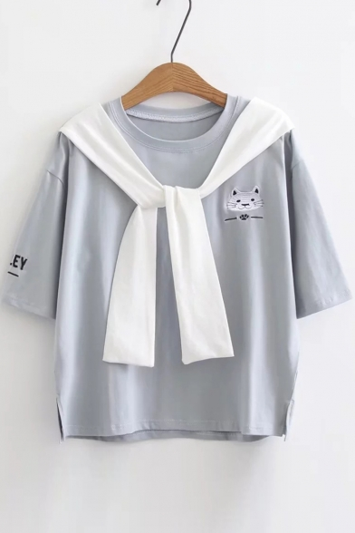 Sailor Collar Short Sleeve Cat Letter Embroidered Tee