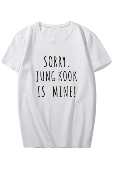 JUNG SORRY KOOK Short Round Sleeve Printed Tee MINE IS Neck Letter d7g4rq7Fx