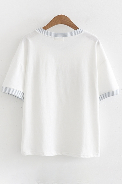 Character Sleeve Striped Tee Printed Round Short Neck Contrast STROK Trim RdqFq