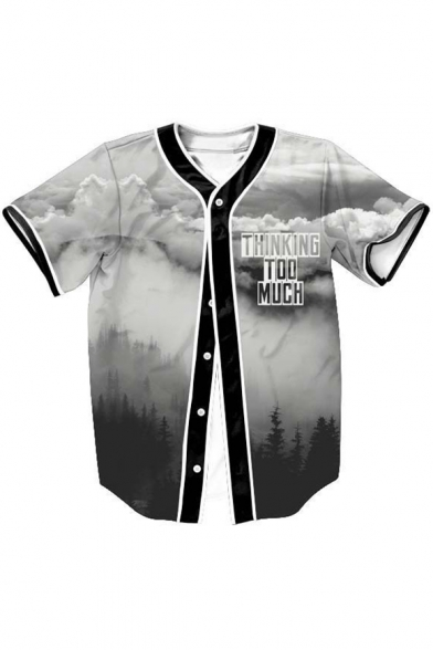 MUCH Tee Short THINKING Printed TOO Baseball Down Landscape Sleeve Letter Buttons vX5wqH5Sx