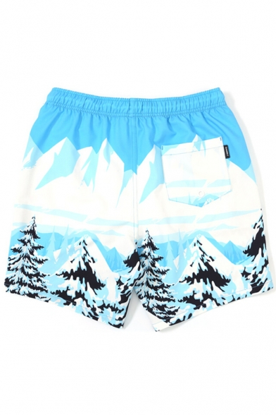 Unique White and Blue Fast Drying Skiing Cartoon Drawcord Swim Shorts Trunks with Mesh Brief