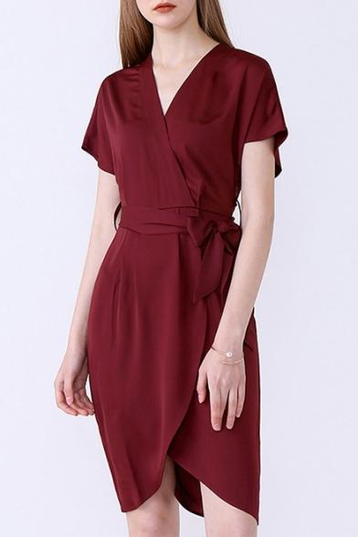 Wrap Front Short Sleeve Tie Waist Plain Midi Dress