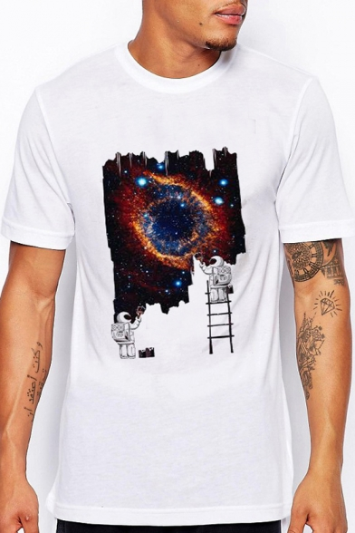 Neck Tee Galaxy Short Sleeve Printed Astronaut Round qRxTtt6
