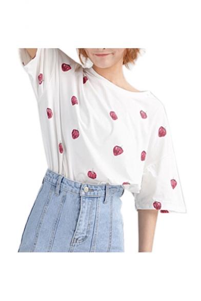 Chic Strawberry Printed Round Neck Short Sleeve Tee