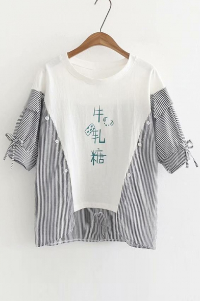 Patchwork Chinese Striped Short Tee Round Buttons Letter Printed Neck Sleeve Embellished BXpnB4Cr