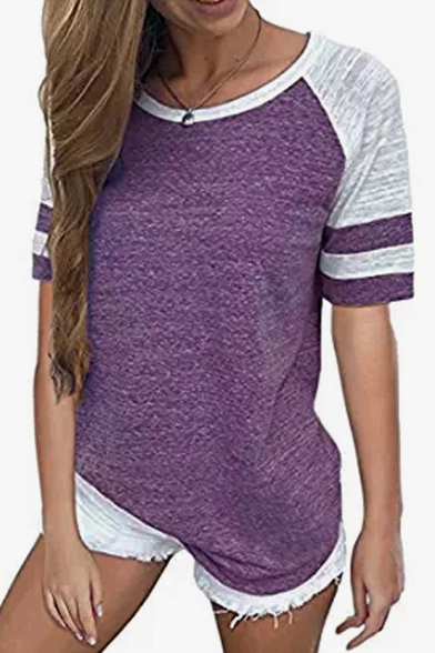 Color Contrast Striped Round Tee Block Leisure Printed Sleeve Short Neck x41x6wS