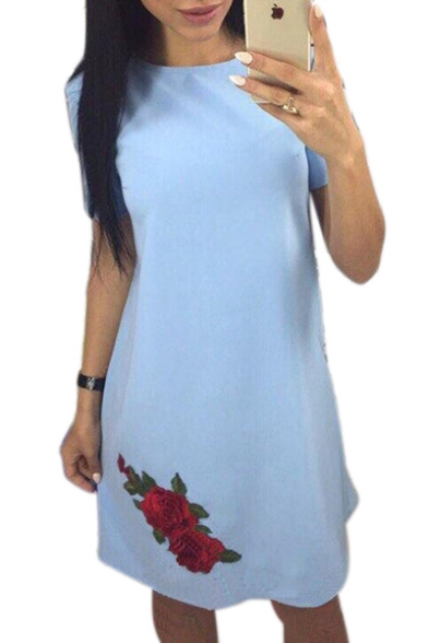Floral Embroidered Round Neck Short Sleeve Mini A-Line Dress