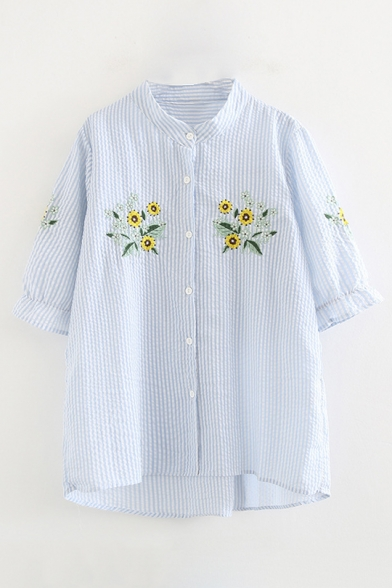 Floral Down Buttons Short Stand Collar Embroidered Striped Shirt Sleeve Up 8qr8O